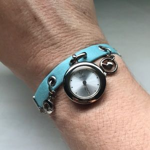 Guess leather & silver bracelet dangle watch